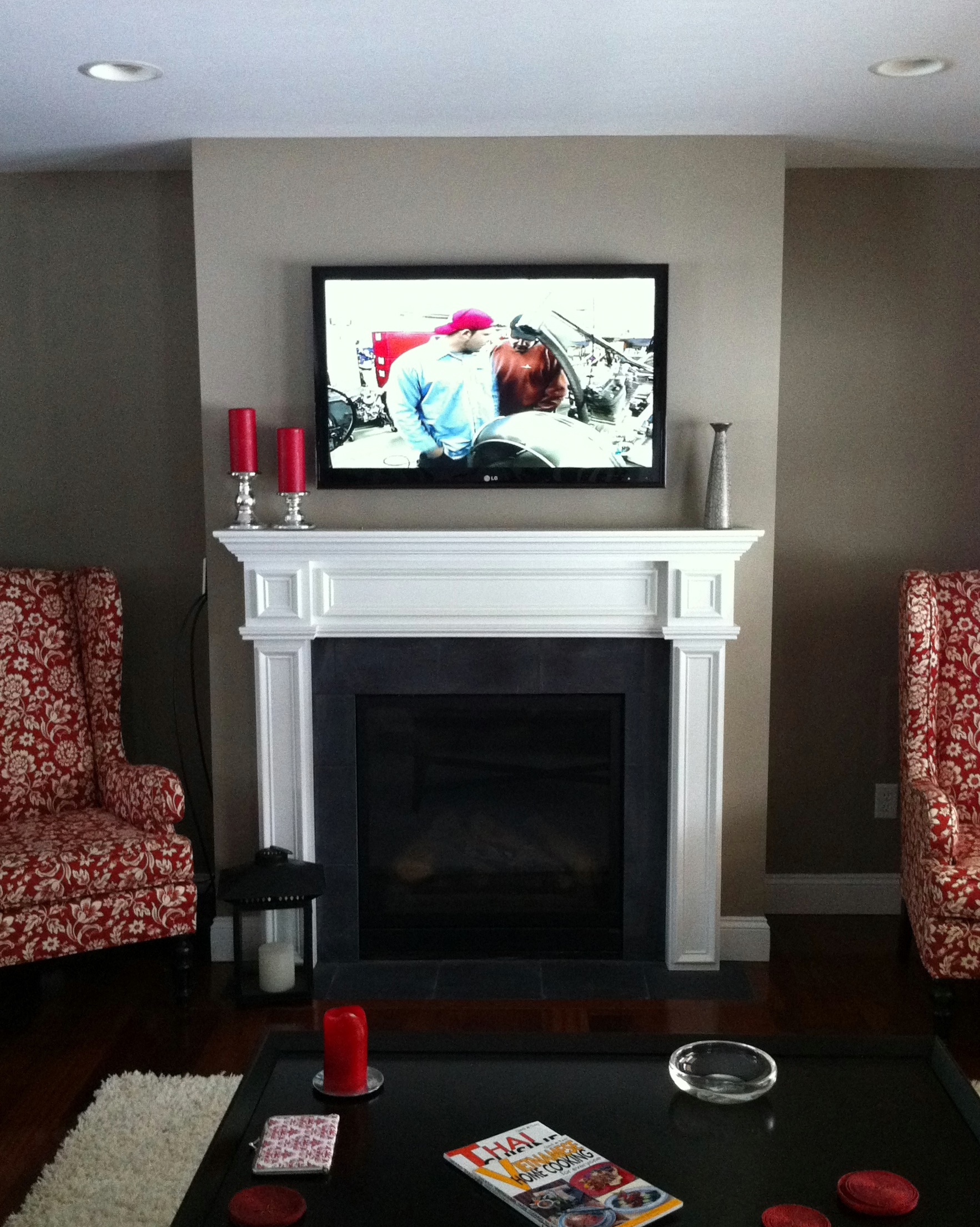 Flat Panel over a Fireplace